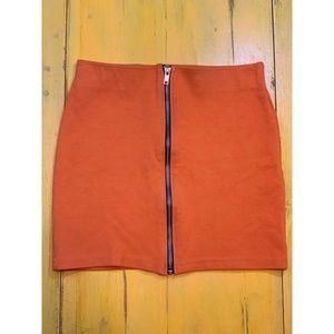H&M Orange Mini Skirt with Zipper in Front
